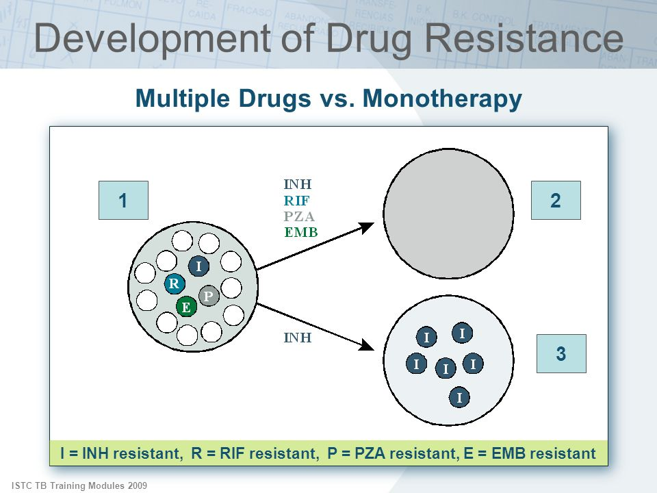ISTC TB Training Modules 2009 Development of Drug Resistance 12 3 Multiple Drugs vs. Monotherapy I = INH resistant, R = RIF resistant, P = PZA resista