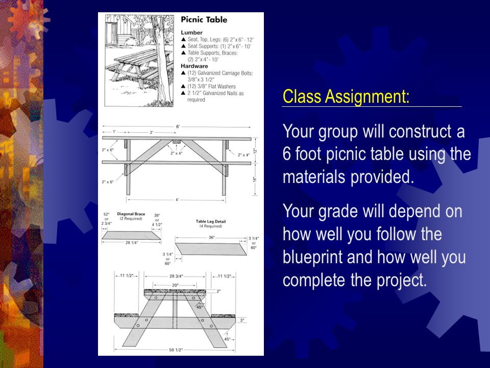 Class Assignment: Your group will construct a 6 foot picnic table using the materials provided.
