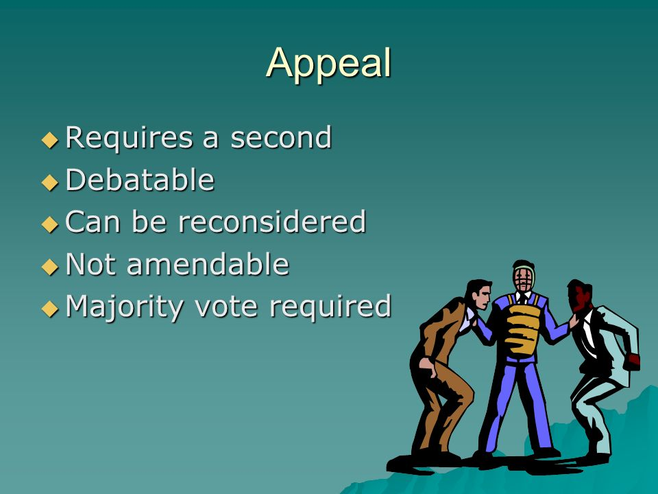 Appeal Requires a second Requires a second Debatable Debatable Can be reconsidered Can be reconsidered Not amendable Not amendable Majority vote requi