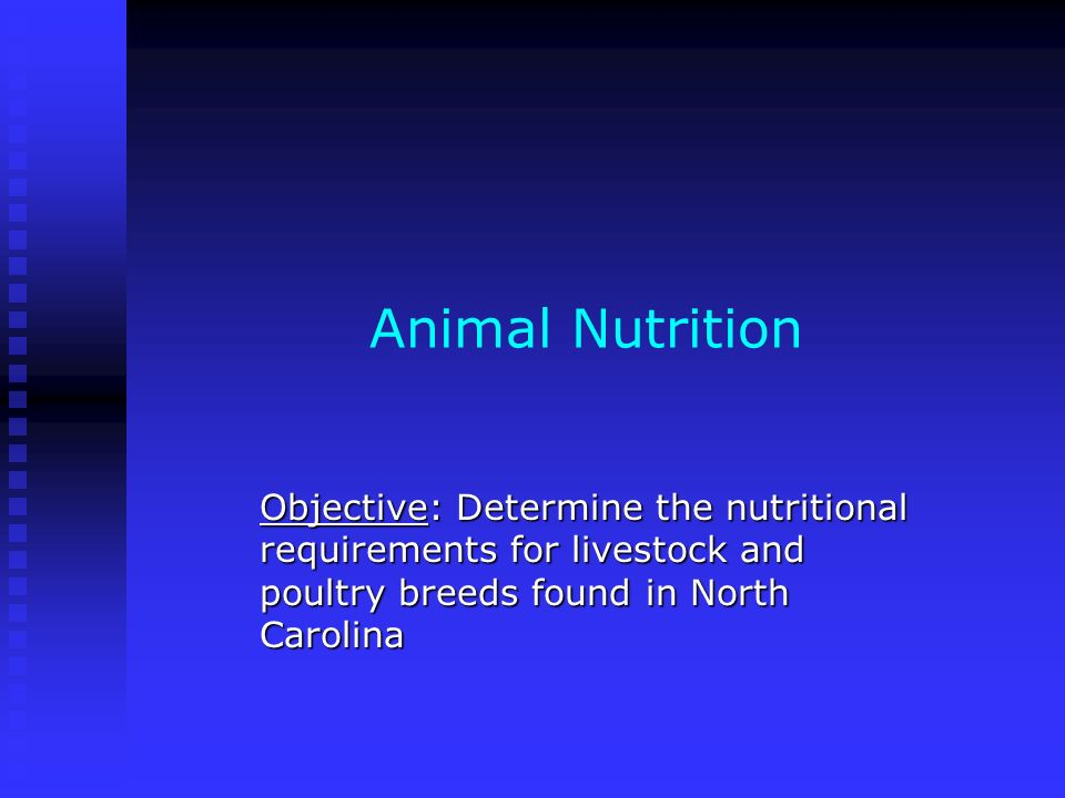 Animal Nutrition Objective: Determine the nutritional requirements for livestock and poultry breeds found in North Carolina