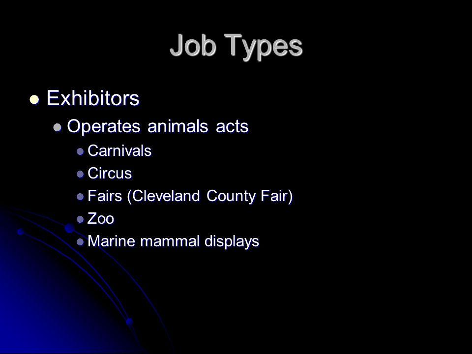 Job Types Exhibitors Exhibitors Operates animals acts Operates animals acts Carnivals Carnivals Circus Circus Fairs (Cleveland County Fair) Fairs (Cle