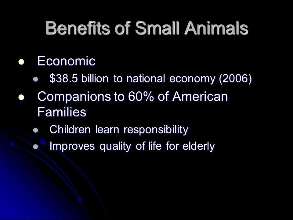 Benefits of Small Animals Economic Economic $38.5 billion to national economy (2006) $38.5 billion to national economy (2006) Companions to 60% of Ame