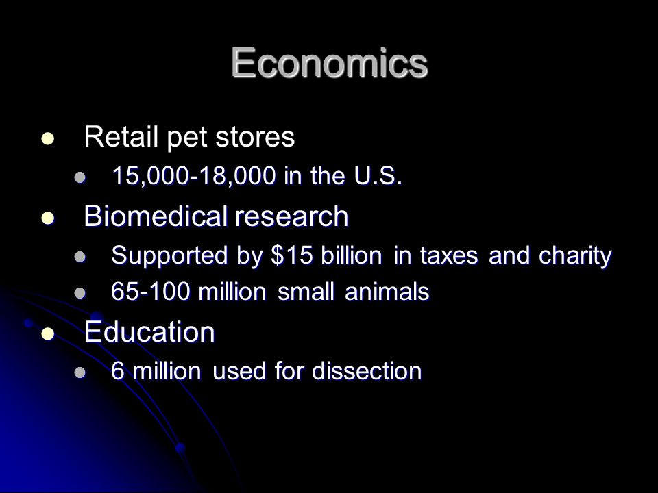 Economics Retail pet stores 15,000-18,000 in the U.S. 15,000-18,000 in the U.S. Biomedical research Biomedical research Supported by $15 billion in ta