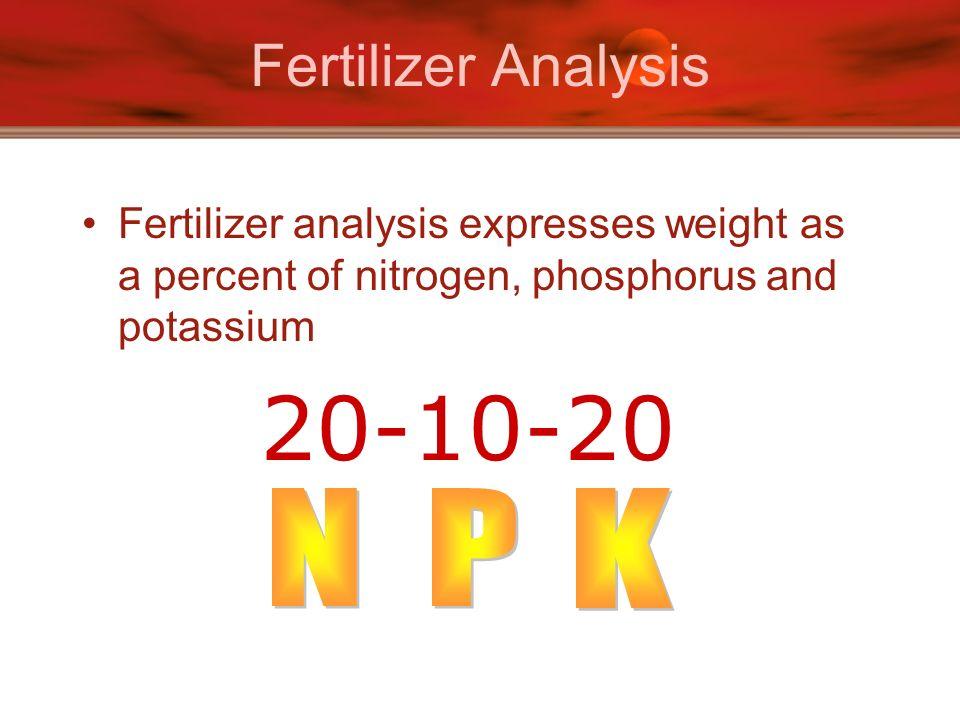 Fertilizer Analysis Fertilizer analysis expresses weight as a percent of nitrogen, phosphorus and potassium 20-10-20