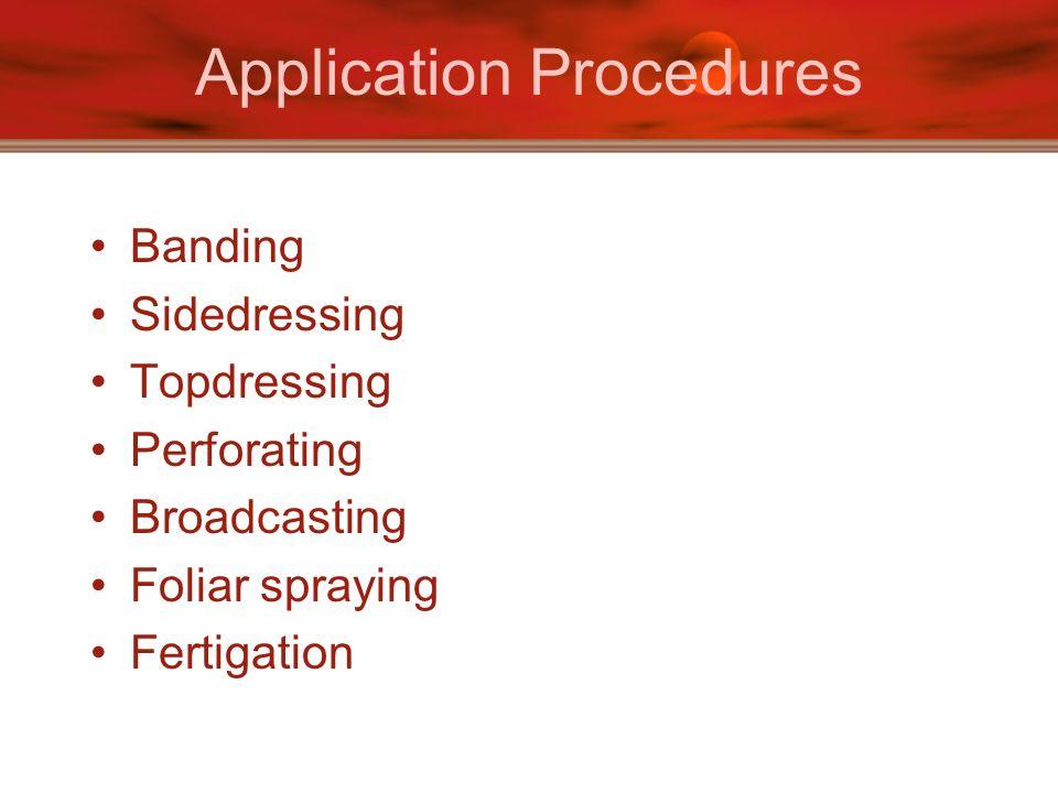 Application Procedures Banding Sidedressing Topdressing Perforating Broadcasting Foliar spraying Fertigation