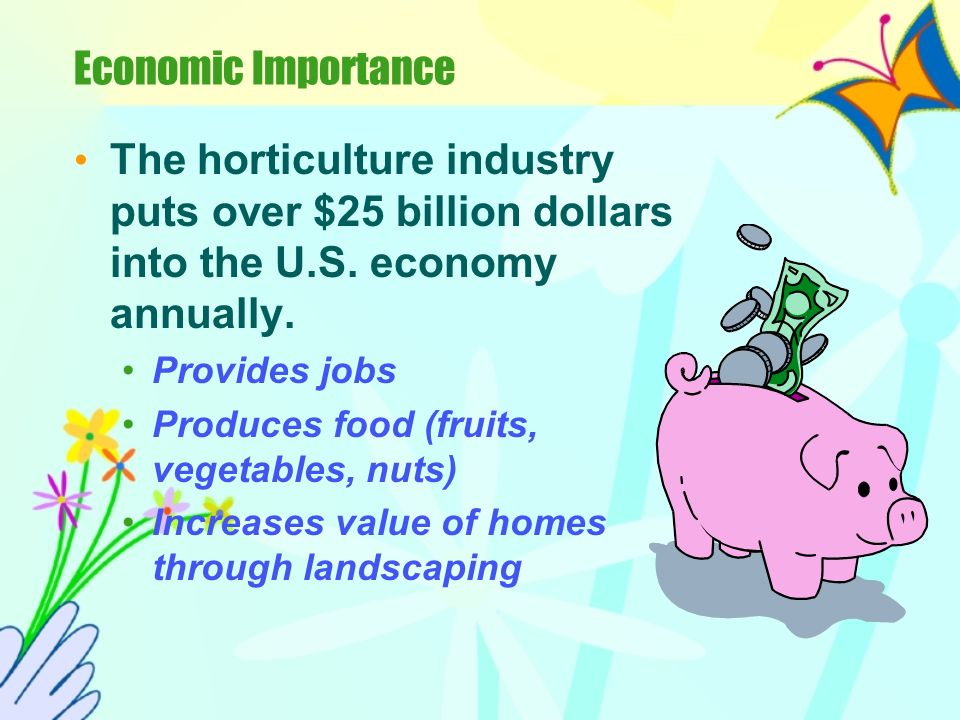 Economic Importance The horticulture industry puts over $25 billion dollars into the U.S.