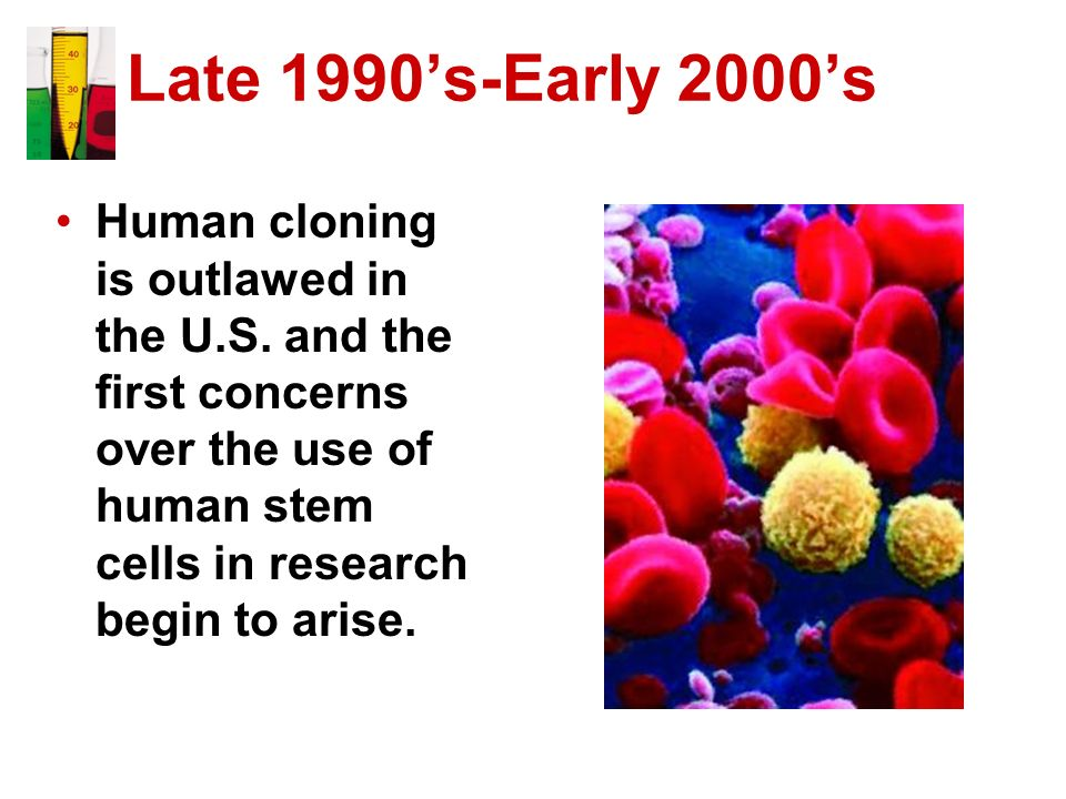 Late 1990s-Early 2000s Human cloning is outlawed in the U.S. and the first concerns over the use of human stem cells in research begin to arise.