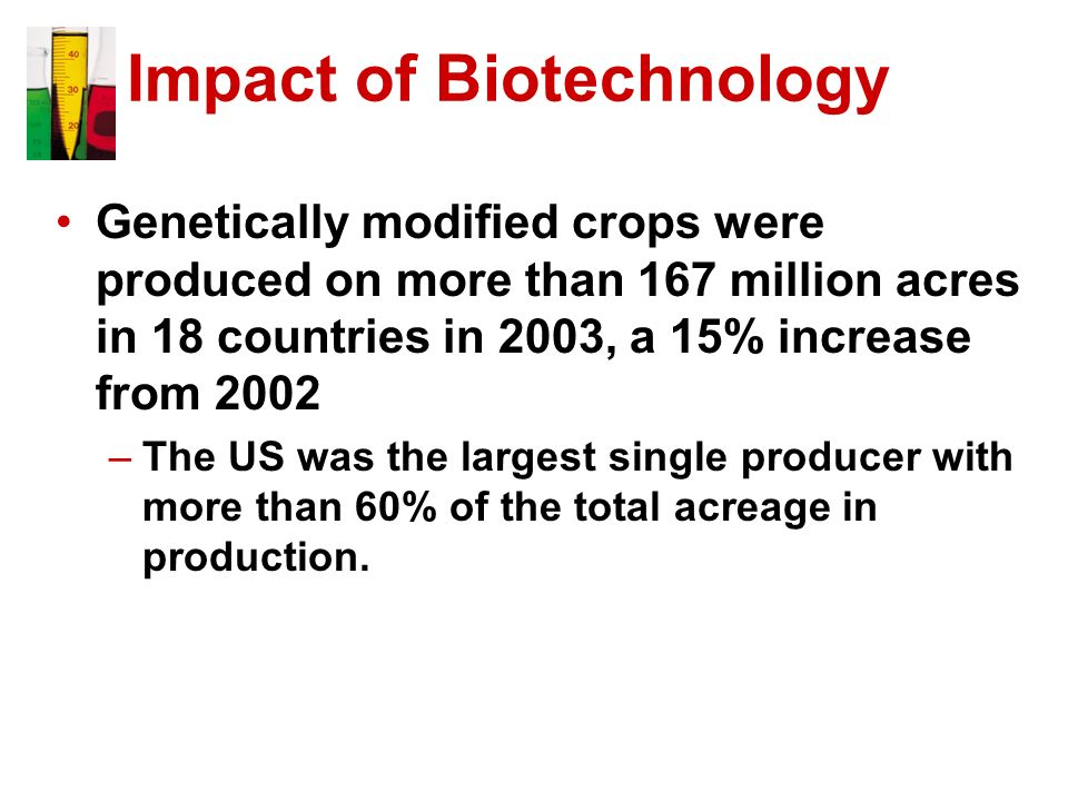 Impact of Biotechnology Genetically modified crops were produced on more than 167 million acres in 18 countries in 2003, a 15% increase from 2002 –The