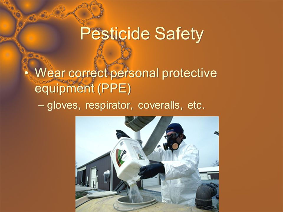 Pesticide Safety Wear correct personal protective equipment (PPE) –gloves, respirator, coveralls, etc. Wear correct personal protective equipment (PPE