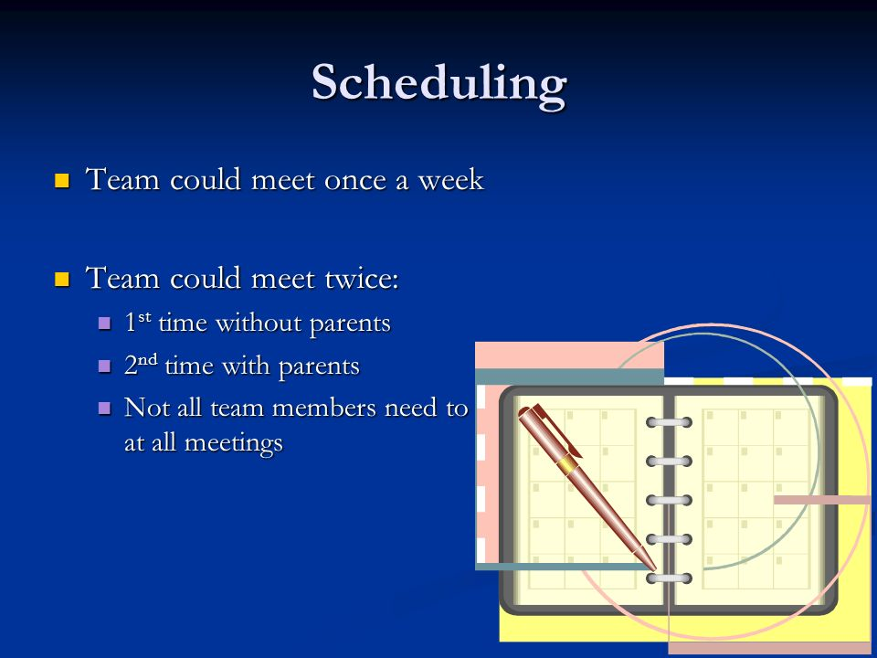 Scheduling Team could meet once a week Team could meet once a week Team could meet twice: Team could meet twice: 1 st time without parents 1 st time without parents 2 nd time with parents 2 nd time with parents Not all team members need to be at all meetings Not all team members need to be at all meetings
