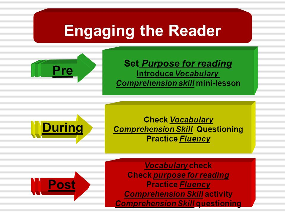 Post Pre During Vocabulary check Check purpose for reading Practice Fluency Comprehension Skill activity Comprehension Skill questioning Set Purpose for reading Introduce Vocabulary Comprehension skill mini-lesson Check Vocabulary Comprehension Skill Questioning Practice Fluency Engaging the Reader