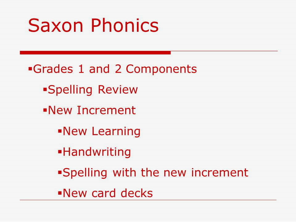 Saxon Phonics Grades 1 and 2 Components Spelling Review New Increment New Learning Handwriting Spelling with the new increment New card decks