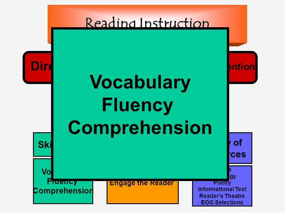 Reading Instruction Skill Focus Vocabulary Fluency Comprehension Pre-During-Post Variety of Resources Novels Anthology Poetry Informational Text Reade