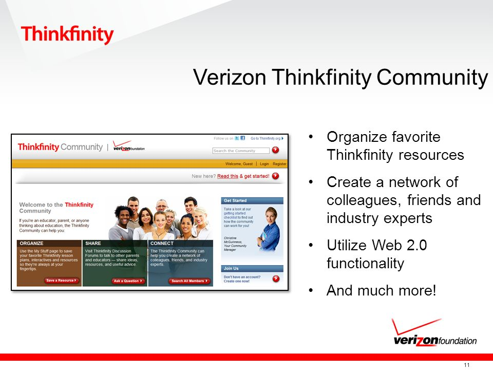 11 Verizon Thinkfinity Community Organize favorite Thinkfinity resources Create a network of colleagues, friends and industry experts Utilize Web 2.0