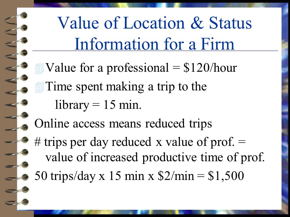 Value of Location & Status Information for a Firm 4 Value for a professional = $120/hour 4 Time spent making a trip to the library = 15 min.