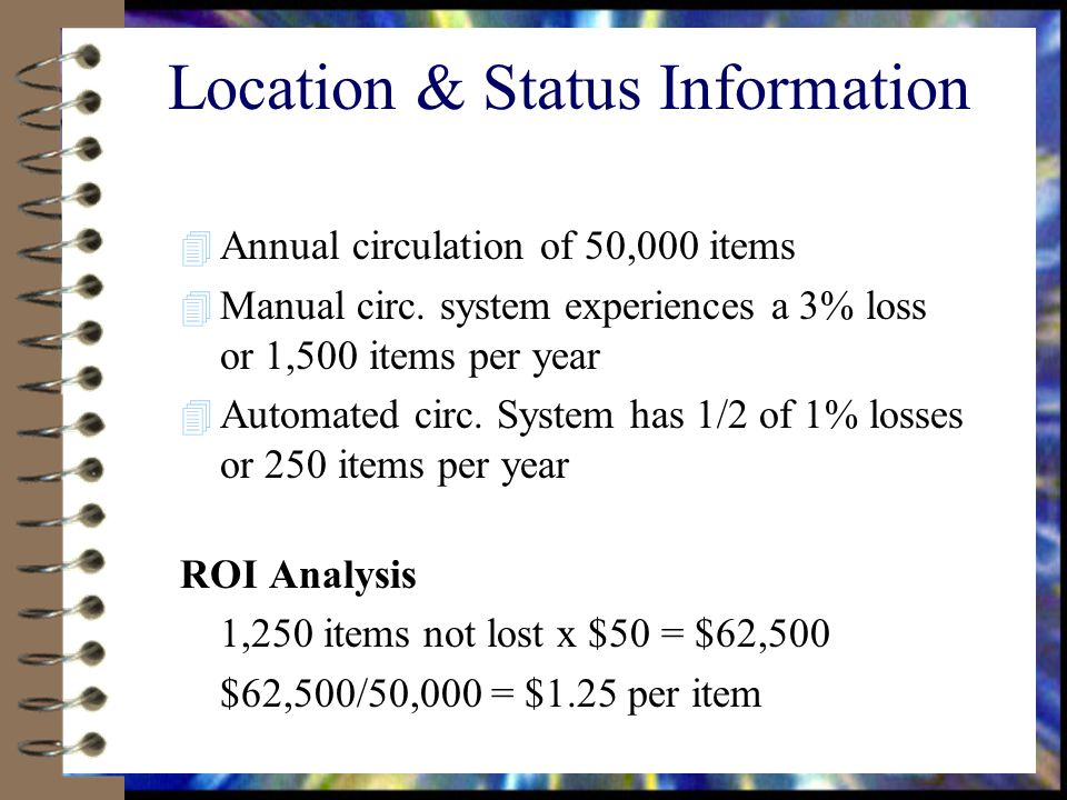 Location & Status Information 4 Annual circulation of 50,000 items 4 Manual circ.