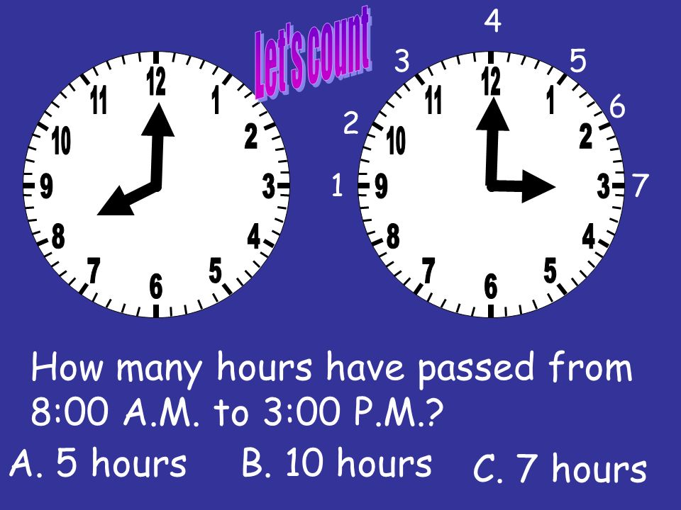 How many hours have passed from 11:00 A.M. to 4:00 P.M.? 1 2 3 C. 6 hours B. 5 hoursA. 2 hours 4 5