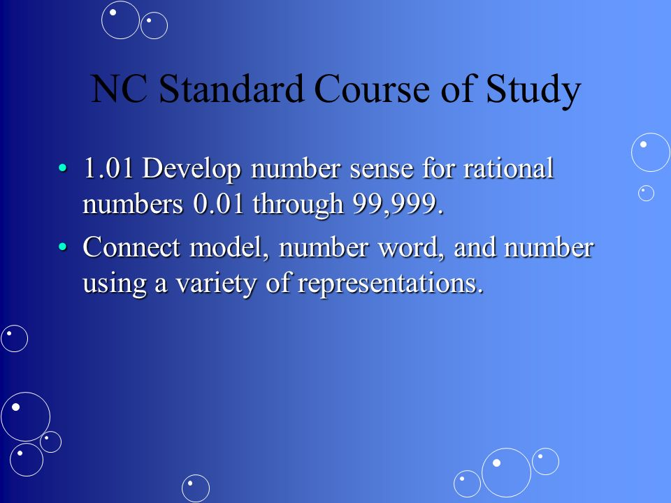 NC Standard Course of Study 1.01 Develop number sense for rational numbers 0.01 through 99,999.1.01 Develop number sense for rational numbers 0.01 through 99,999.