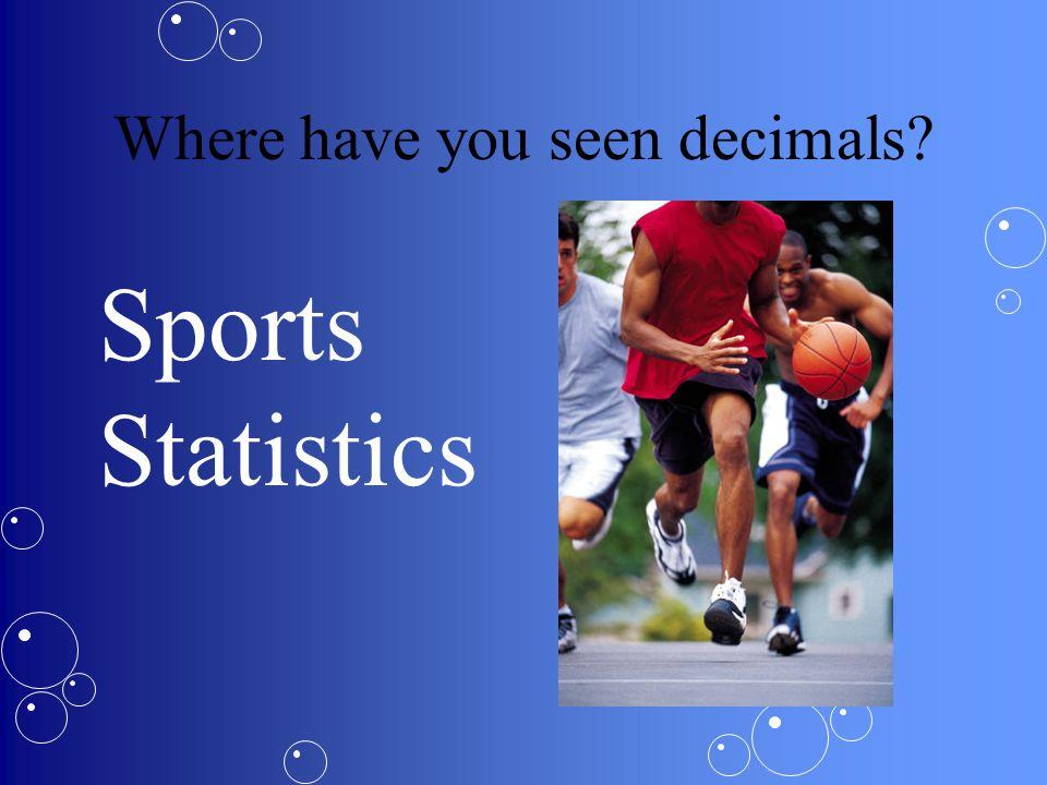 Where have you seen decimals? Measurements