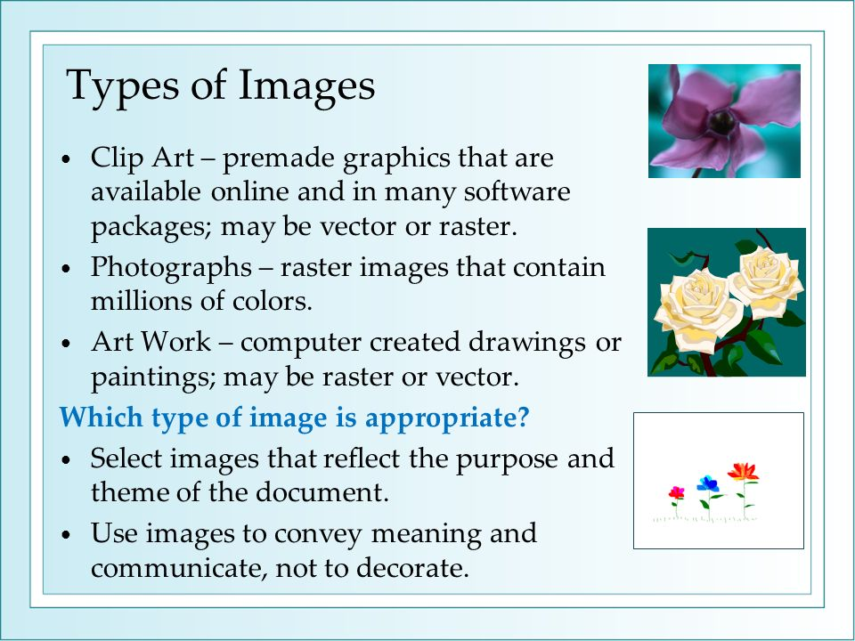 Types of Images Clip Art – premade graphics that are available online and in many software packages; may be vector or raster. Photographs – raster ima