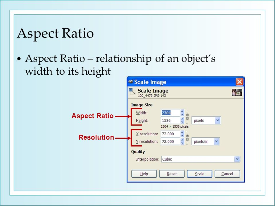 Aspect Ratio Aspect Ratio – relationship of an objects width to its height Aspect Ratio Resolution
