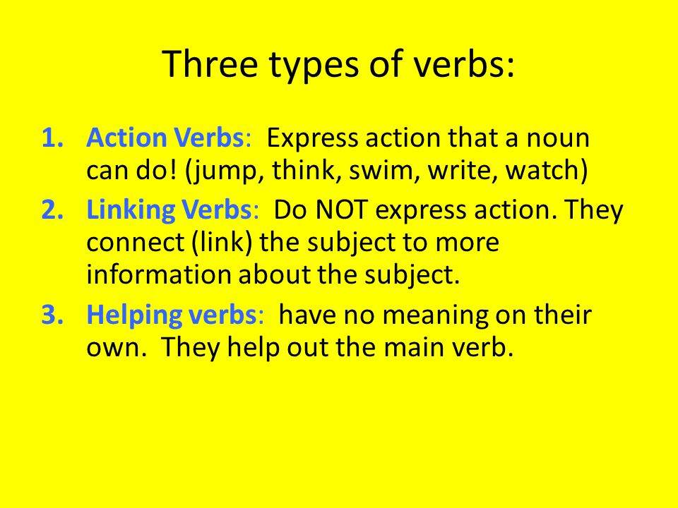 Three types of verbs: 1.Action Verbs: Express action that a noun can do! (jump, think, swim, write, watch) 2.Linking Verbs: Do NOT express action. The