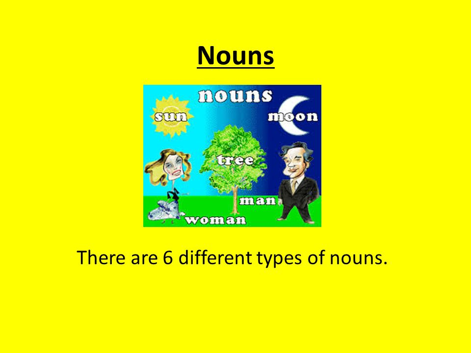 Nouns There are 6 different types of nouns.