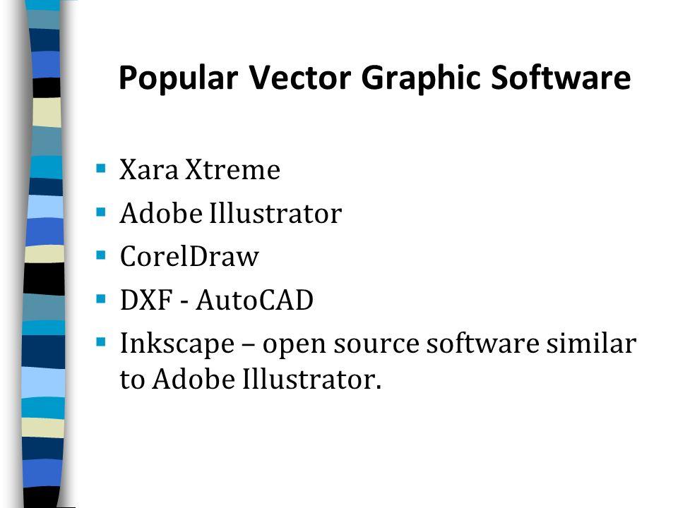 Popular Vector Graphic Software Xara Xtreme Adobe Illustrator CorelDraw DXF - AutoCAD Inkscape – open source software similar to Adobe Illustrator.
