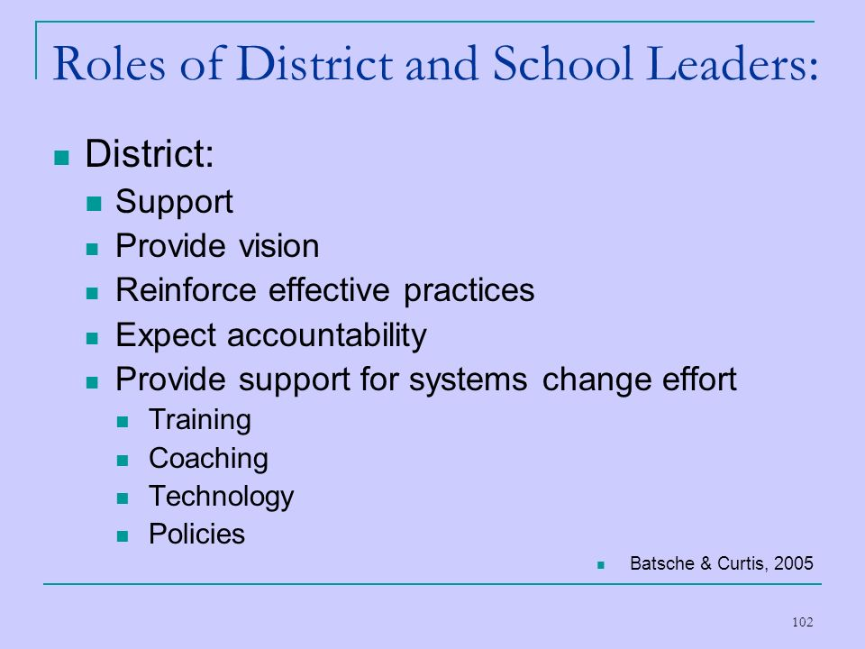 102 Roles of District and School Leaders: District: Support Provide vision Reinforce effective practices Expect accountability Provide support for sys