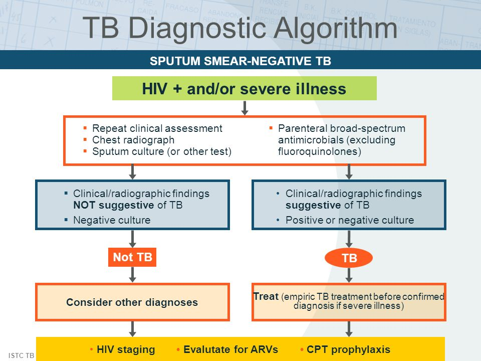 ISTC TB Training Modules 2009 HIV + and/or severe illness SPUTUM SMEAR-NEGATIVE TB Clinical/radiographic findings NOT suggestive of TB Negative cultur