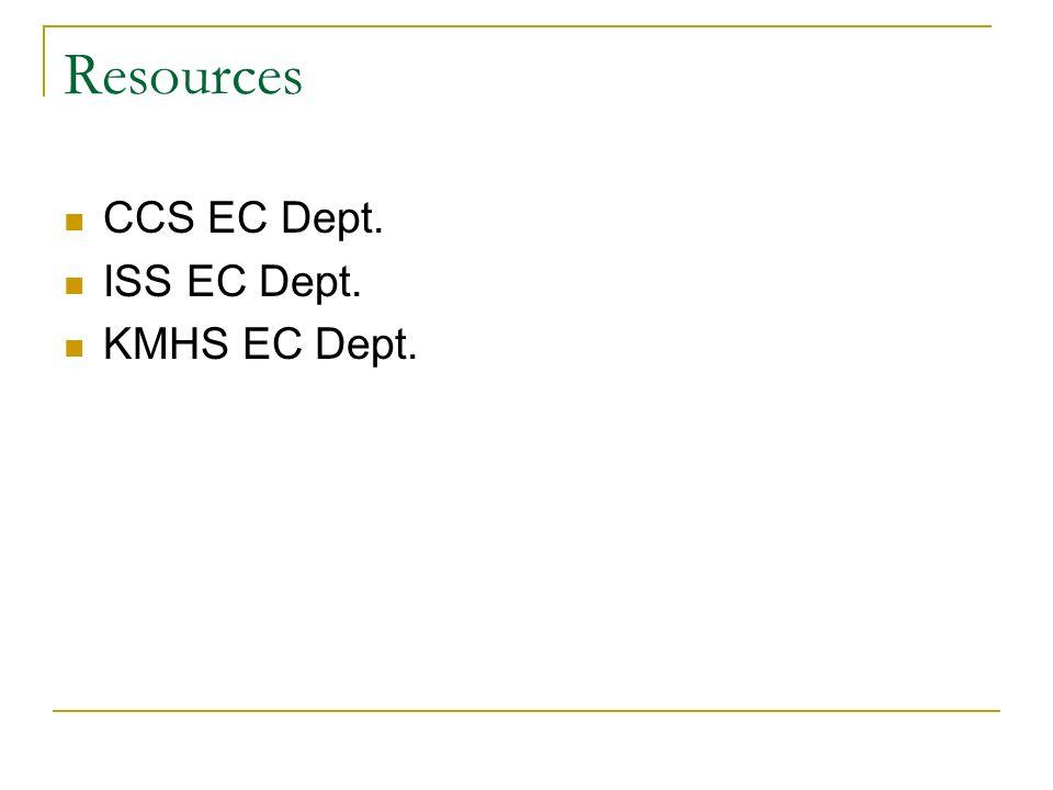 Resources CCS EC Dept. ISS EC Dept. KMHS EC Dept.