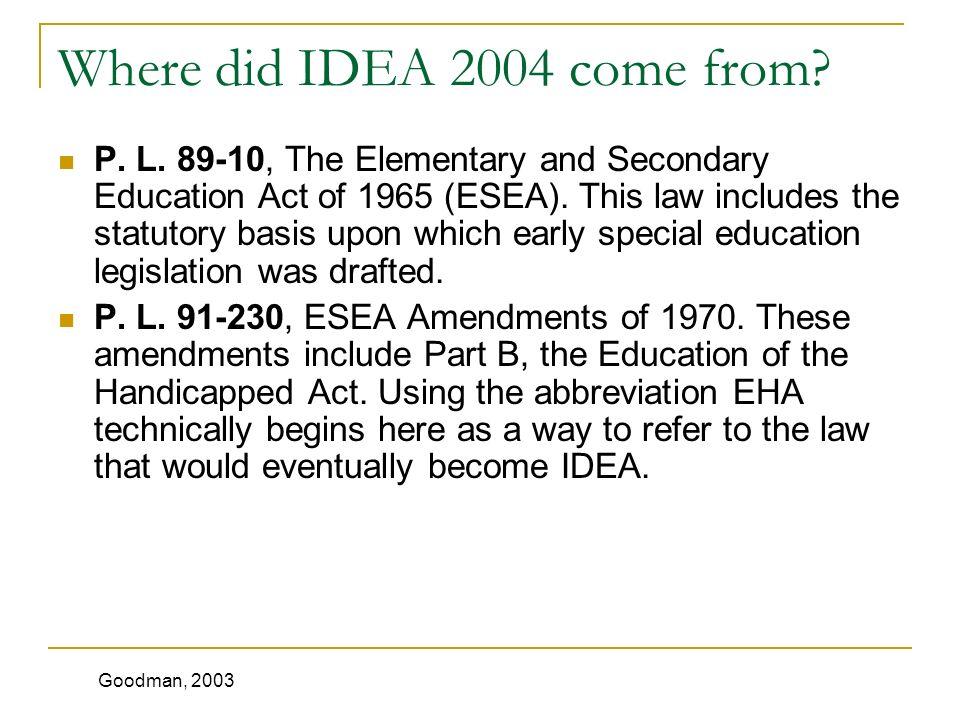 Where did IDEA 2004 come from. P. L.
