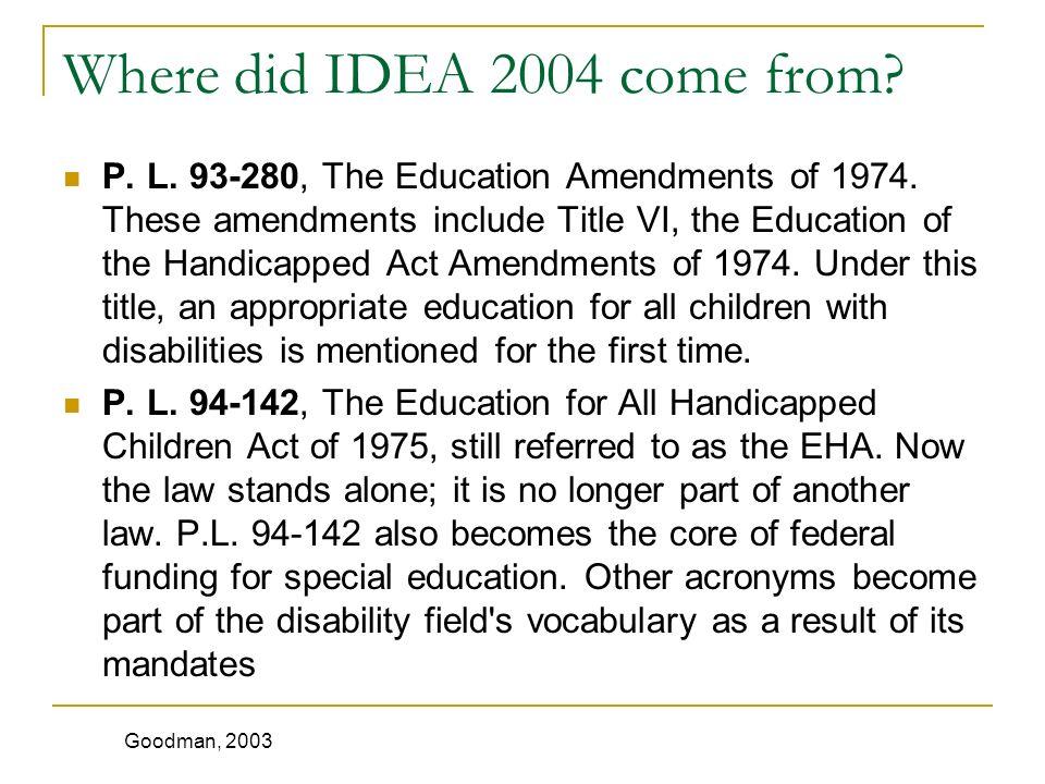 Where did IDEA 2004 come from. P. L. 93-280, The Education Amendments of 1974.
