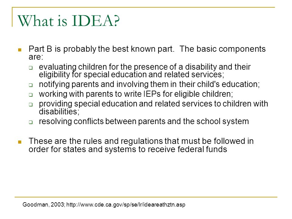 What is IDEA. Part B is probably the best known part.