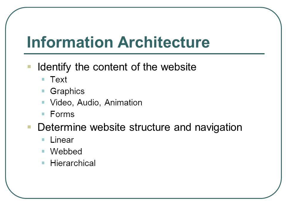 Information Architecture Identify the content of the website Text Graphics Video, Audio, Animation Forms Determine website structure and navigation Li