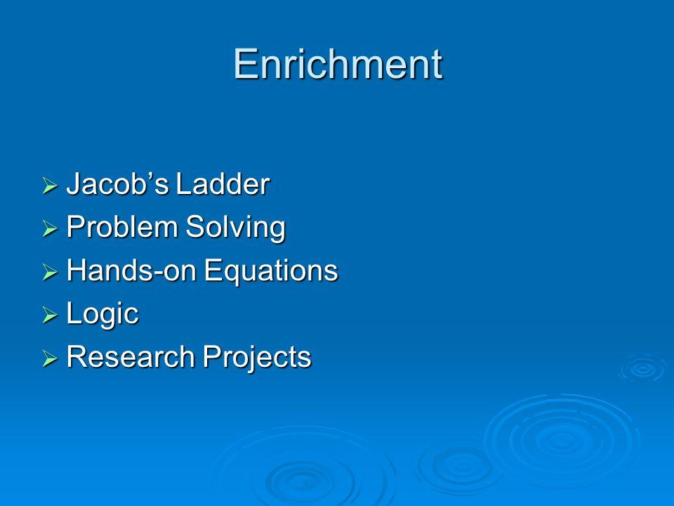 Enrichment Jacobs Ladder Jacobs Ladder Problem Solving Problem Solving Hands-on Equations Hands-on Equations Logic Logic Research Projects Research Pr