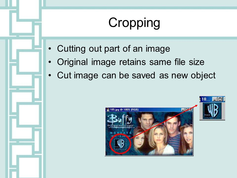 Cropping Cutting out part of an image Original image retains same file size Cut image can be saved as new object