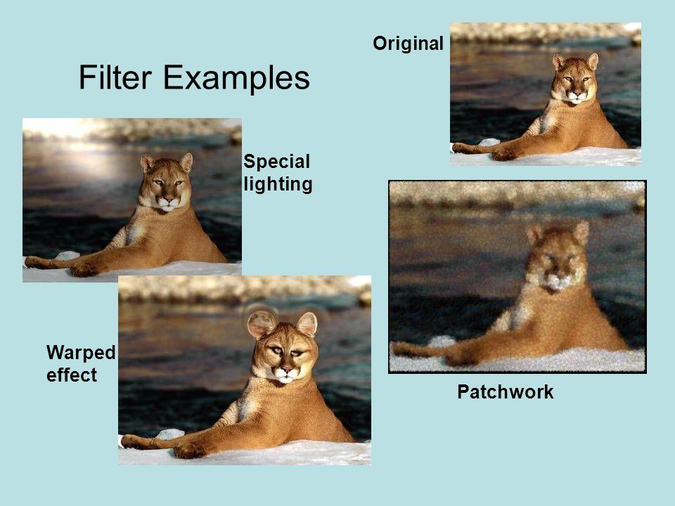 Filter Examples Original Special lighting Warped effect Patchwork