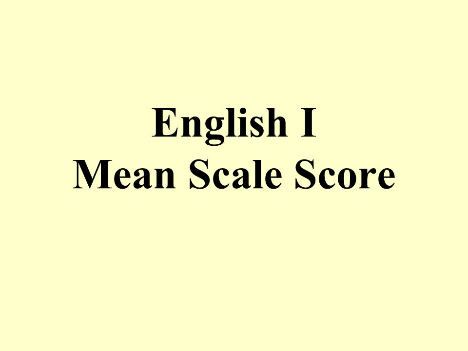 English I Mean Scale Score