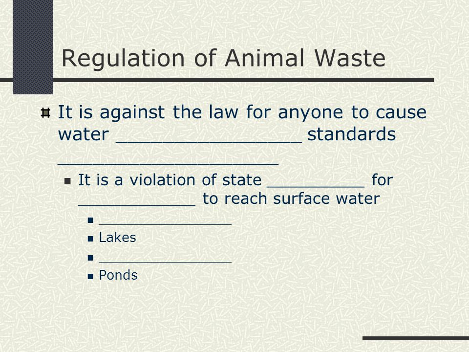 Regulation of Animal Waste It is against the law for anyone to cause water ________________ standards ___________________ It is a violation of state _