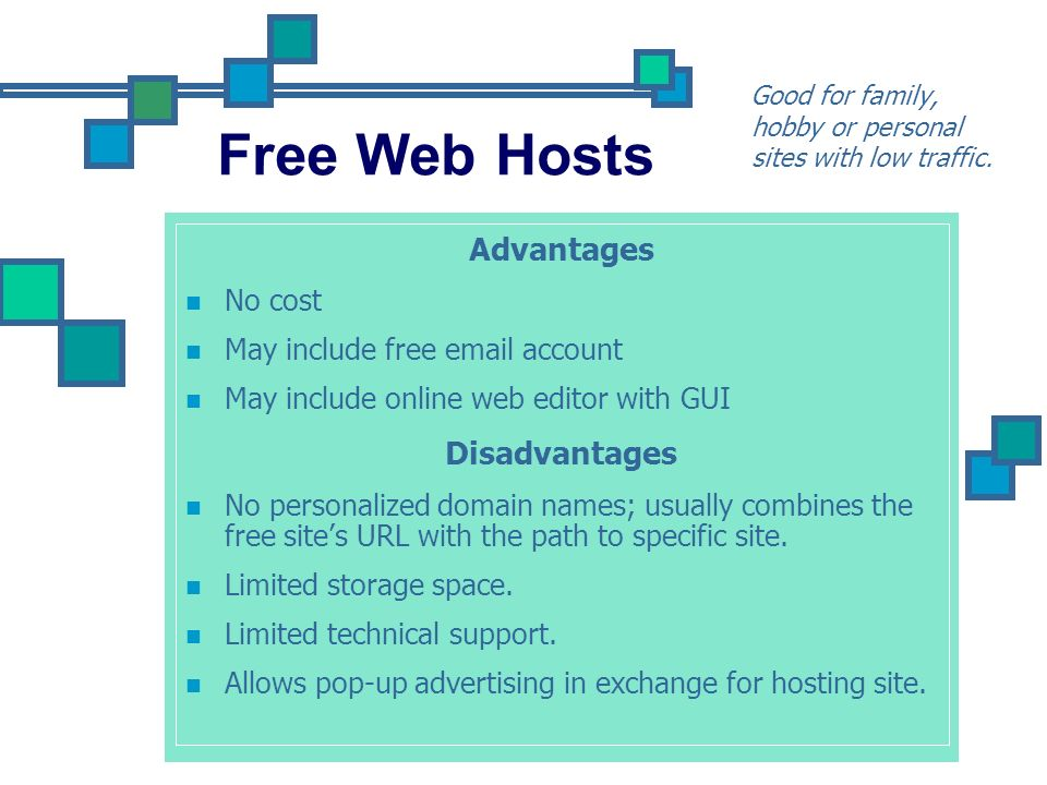 Shared Web Hosts Good for small businesses websites with average traffic Advantages Low cost because it is shared with others.