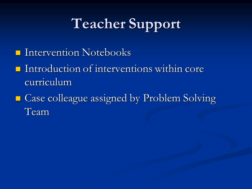 Teacher Support Intervention Notebooks Intervention Notebooks Introduction of interventions within core curriculum Introduction of interventions within core curriculum Case colleague assigned by Problem Solving Team Case colleague assigned by Problem Solving Team