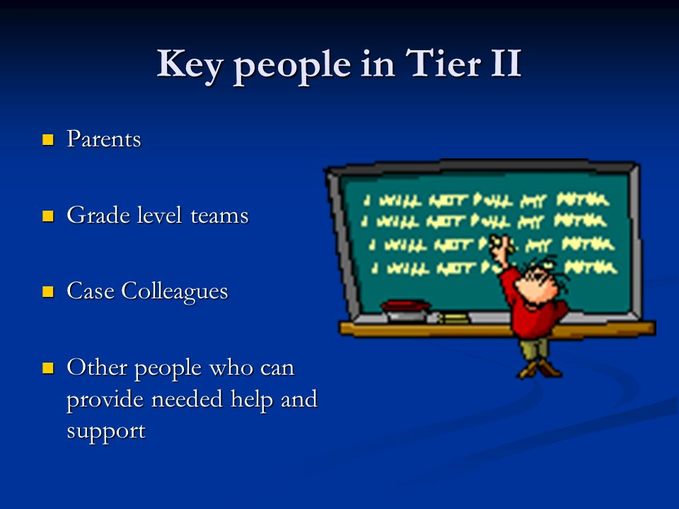 Key people in Tier II Parents Parents Grade level teams Grade level teams Case Colleagues Case Colleagues Other people who can provide needed help and support Other people who can provide needed help and support