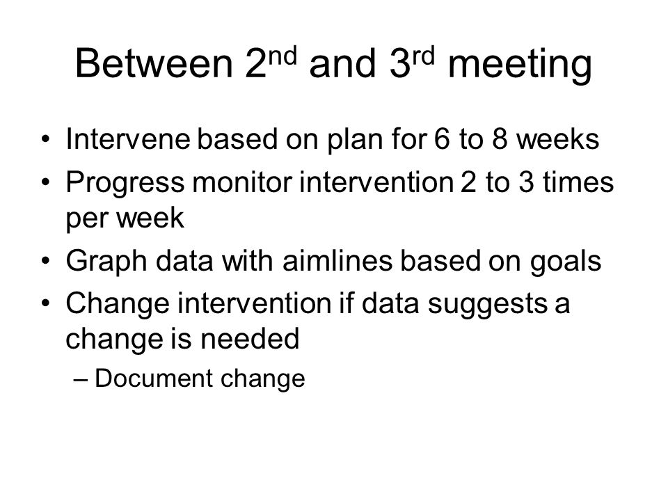 Between 2 nd and 3 rd meeting Intervene based on plan for 6 to 8 weeks Progress monitor intervention 2 to 3 times per week Graph data with aimlines ba