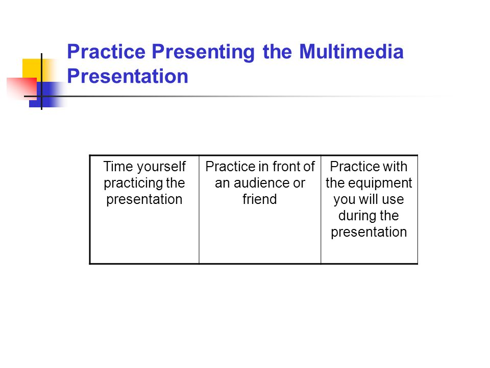 Practice Presenting the Multimedia Presentation Time yourself practicing the presentation Practice in front of an audience or friend Practice with the