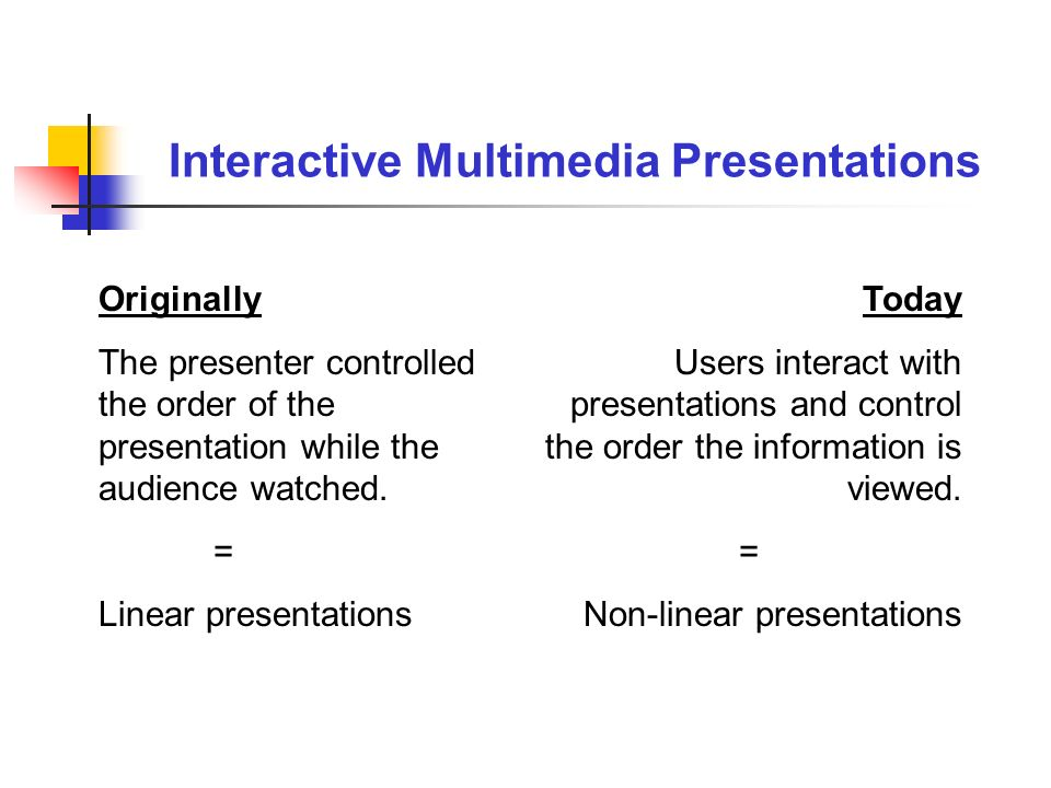 Originally The presenter controlled the order of the presentation while the audience watched. = Linear presentations Today Users interact with present