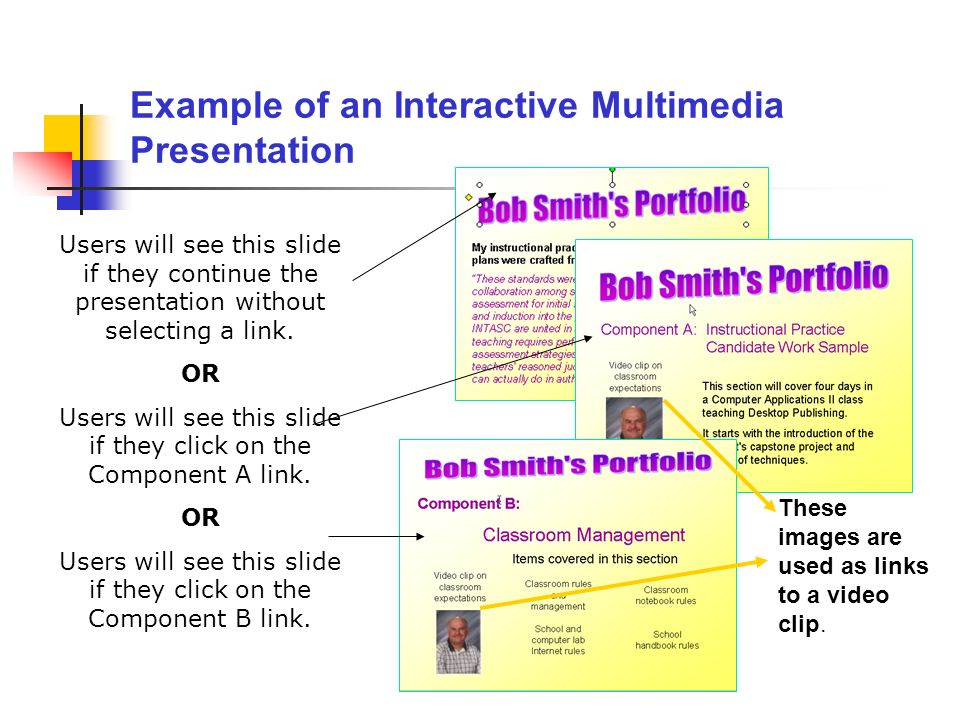 Example of an Interactive Multimedia Presentation Users will see this slide if they continue the presentation without selecting a link. OR Users will