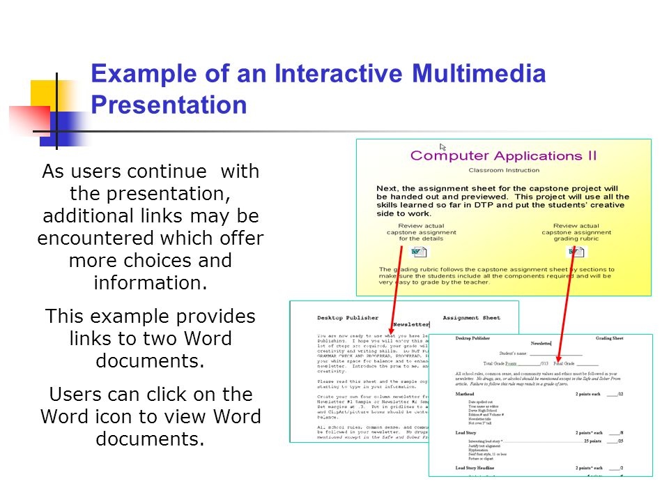 As users continue with the presentation, additional links may be encountered which offer more choices and information. This example provides links to
