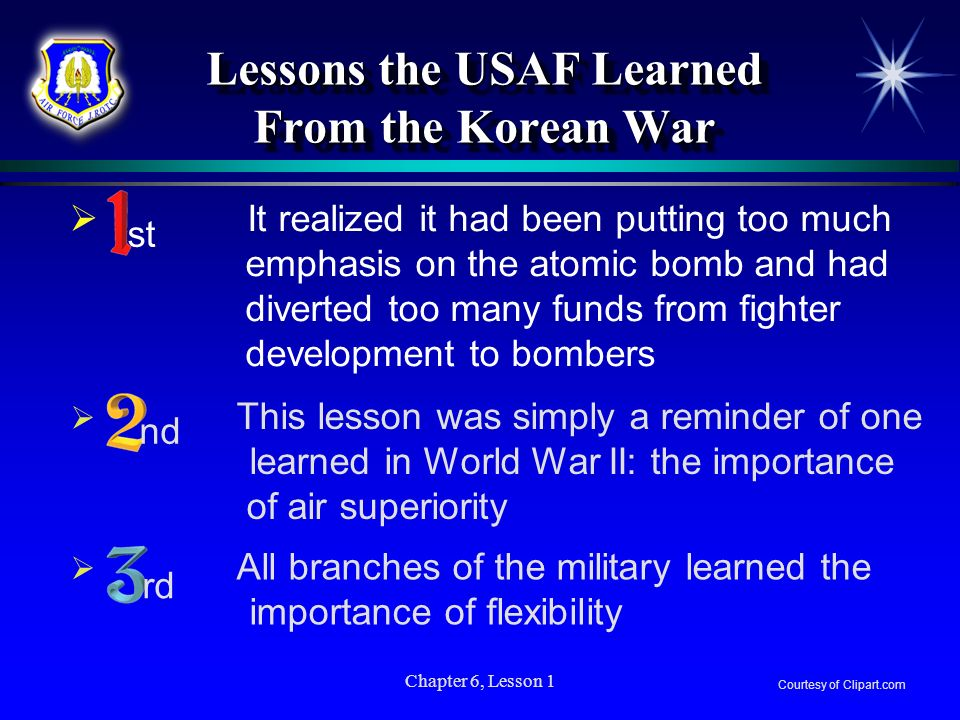 Chapter 6, Lesson 1 All branches of the military learned the importance of flexibility This lesson was simply a reminder of one learned in World War I