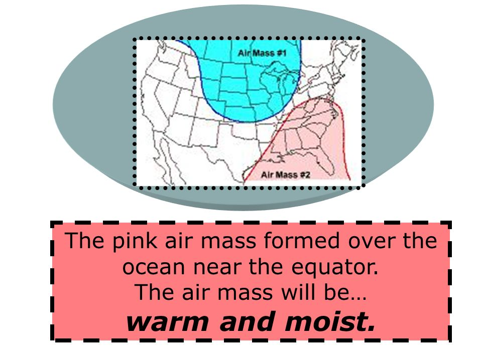 Cold Air Mass – this is an air mass made up of cool temperatures and high pressure. U sually does not hold much moisture F orms over cold water or lan